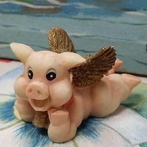 Vintage granite flying pig figure